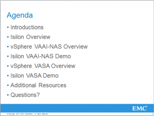 Agenda Slide for the Isilon/VMware Webcast
