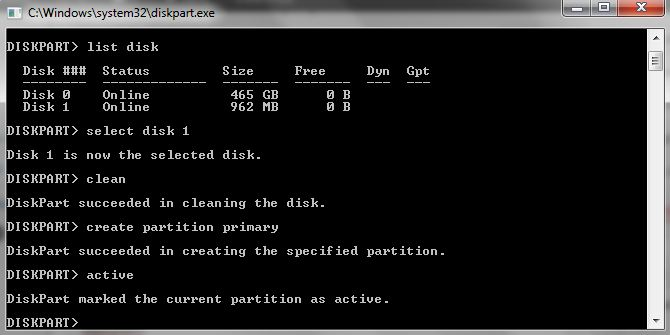 clean, create partition primary, active