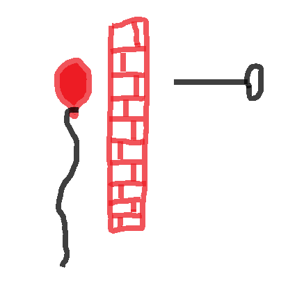 A brick wall protecting the balloon.